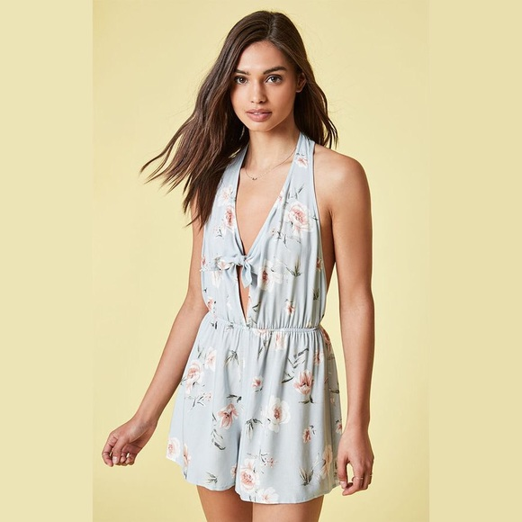 9977eaa82594 Kendall   Kylie Dresses   Skirts - Kendall   Kylie Pacsun Blue Floral  Halter Romper M